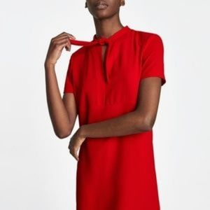 Zara Tie Neck Red Mini Dress
